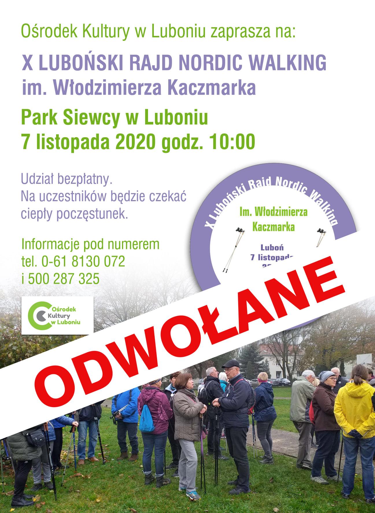 X Rajd Nordic Walking im. Włodzimierza Kaczmarka - odwołany!