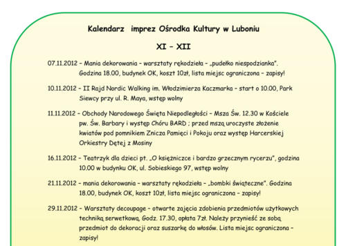 Kalendarz imprez listopad-grudzień 2012